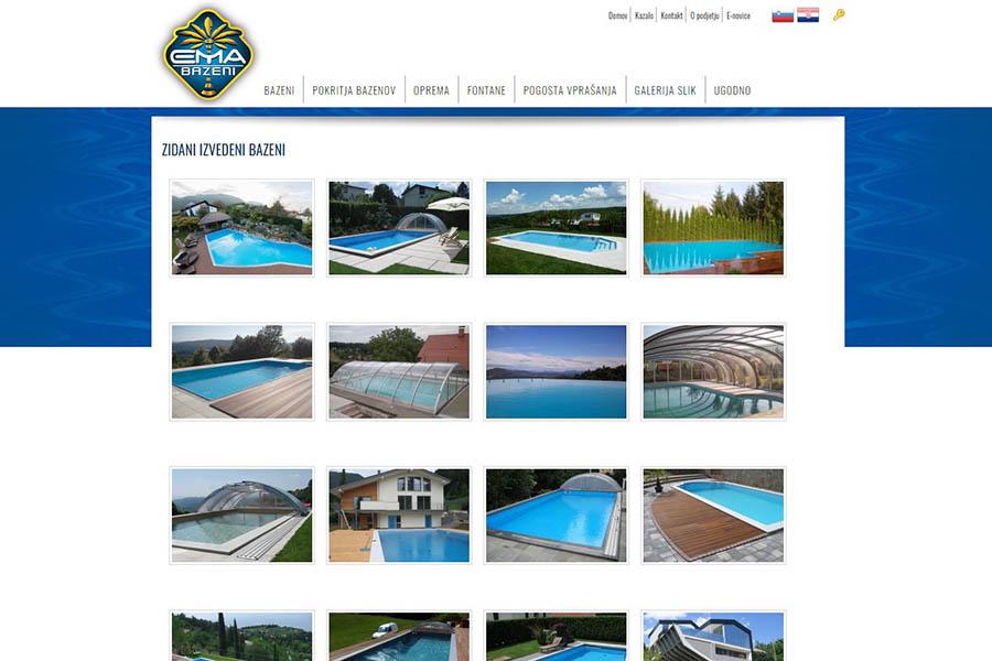 Izdelava spletne strani Ema bazeni galerija