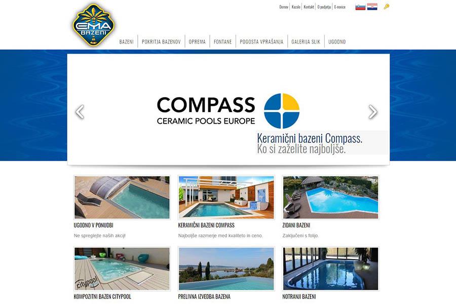 Izdelava spletne strani Ema bazeni domača stran