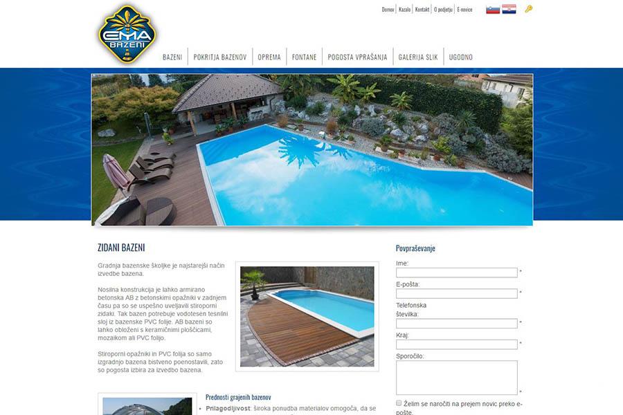 Izdelava spletne strani Ema bazeni stran