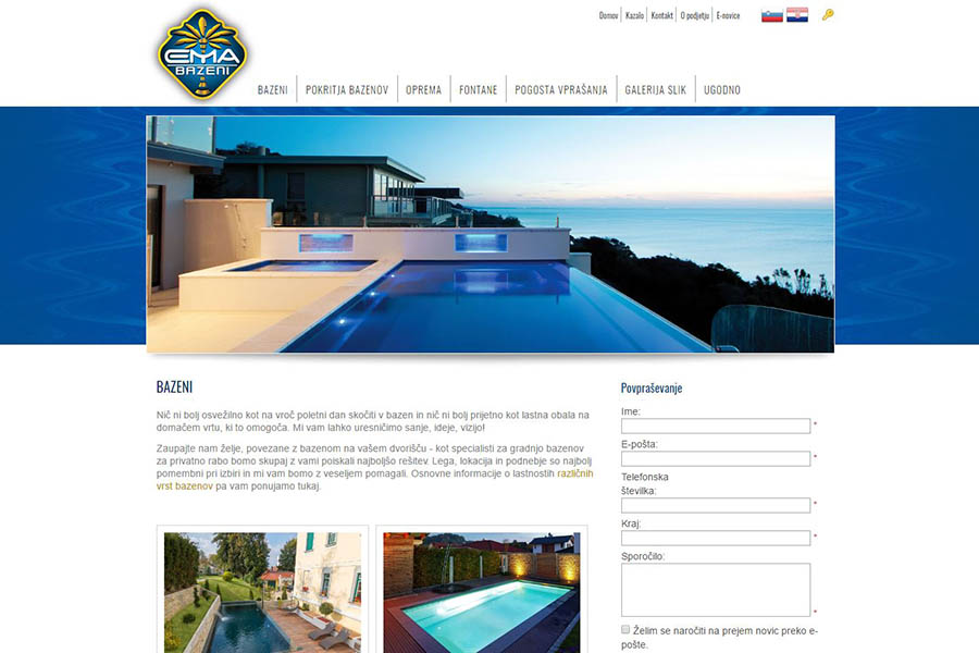 Izdelava spletne strani Ema bazeni podstran