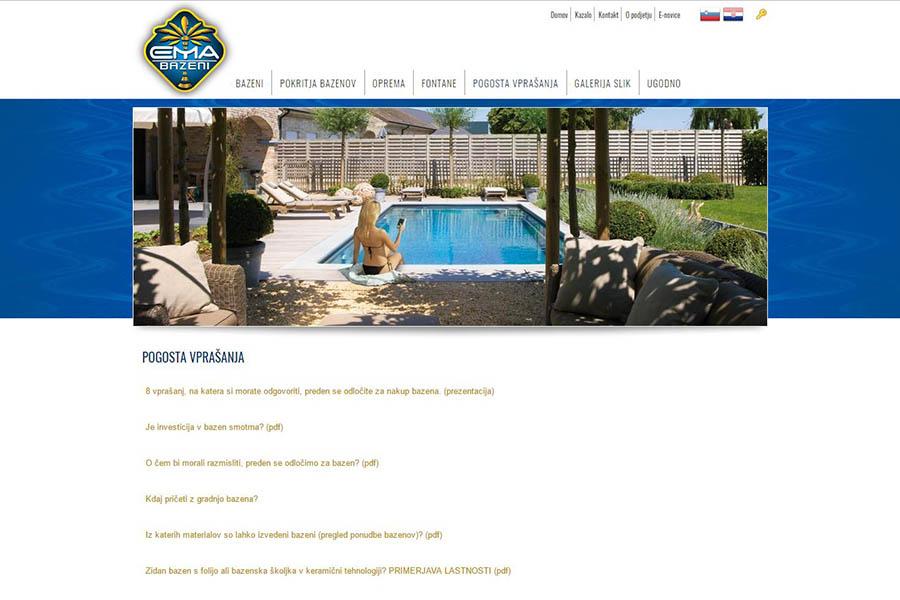 Izdelava spletne strani Ema bazeni Pogosta vprašanja