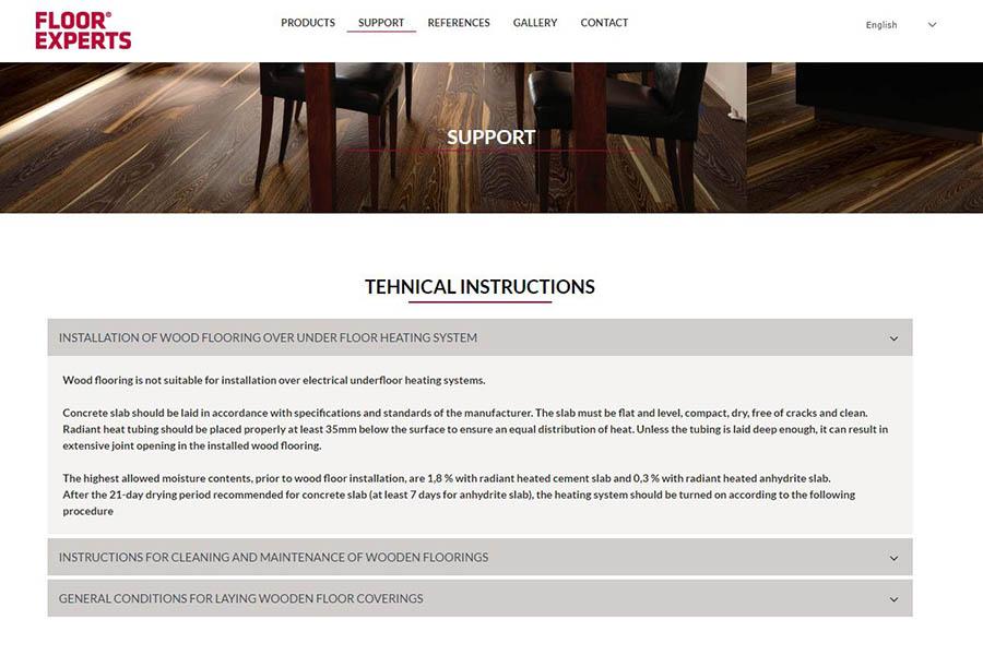 Izdelava spletne strani Floor Experts podpora
