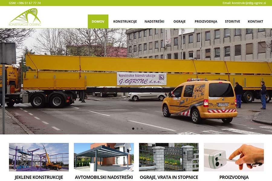 Izdelava spletne strani Konstrukcije Ogrinc domača stran