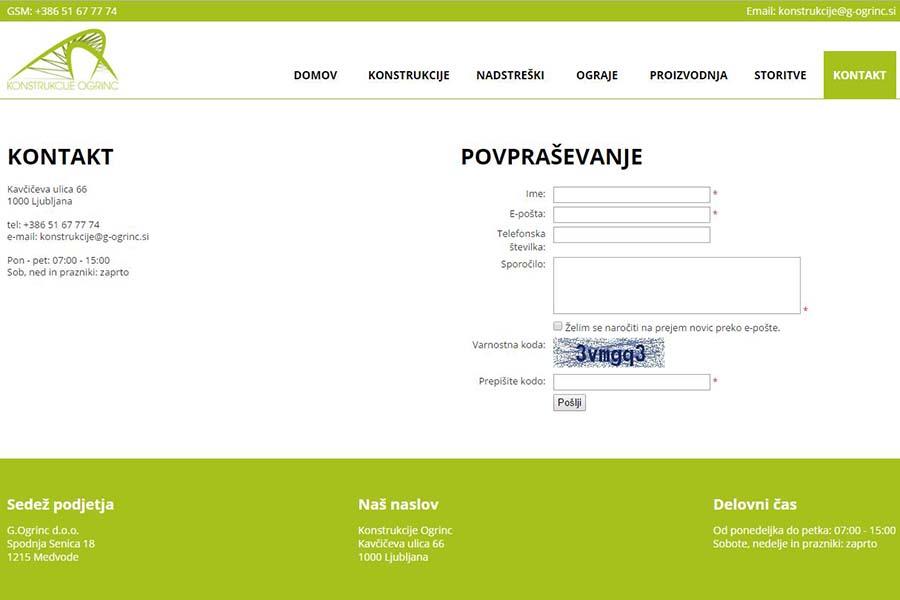 Izdelava spletne strani Konstrukcije Ogrinc kontakt