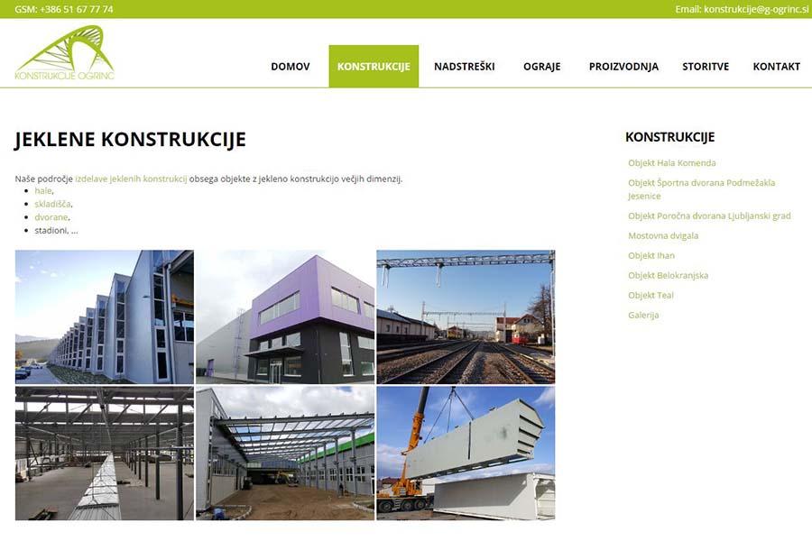 Izdelava spletne strani Konstrukcije Ogrinc podstran