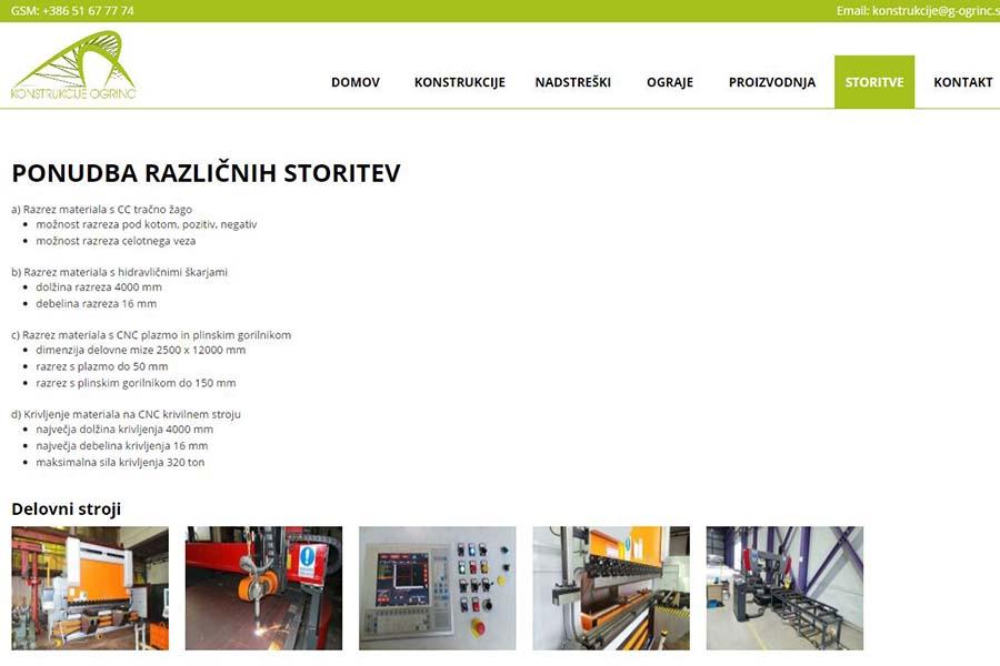 Izdelava spletne strani Konstrukcije Ogrinc storitve