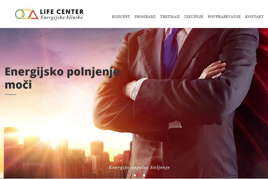 Izdelava spletne strani Life Center domača stran