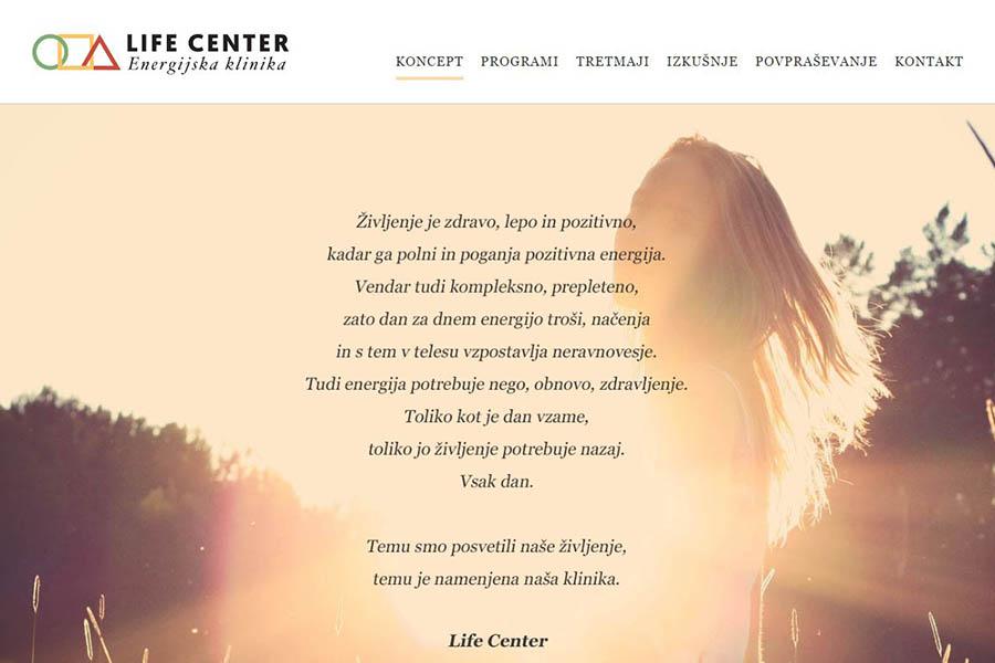 Izdelava spletne strani Life Center koncept