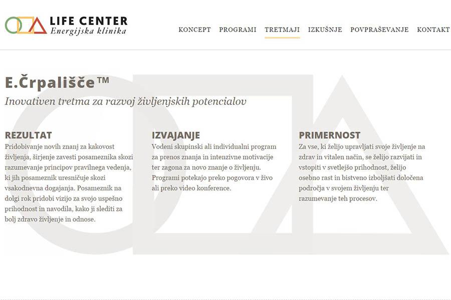 Izdelava spletne strani Life Center podstran