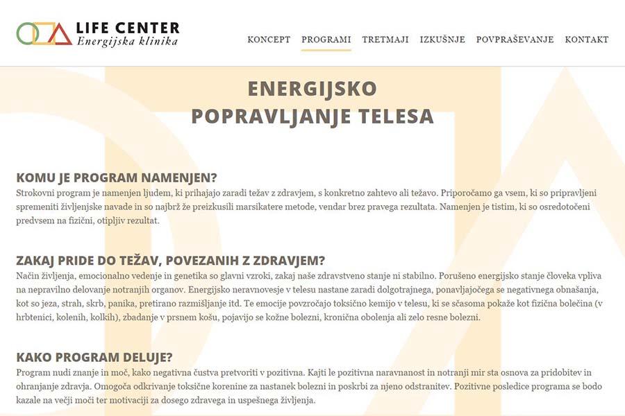 Izdelava spletne strani Life Center program
