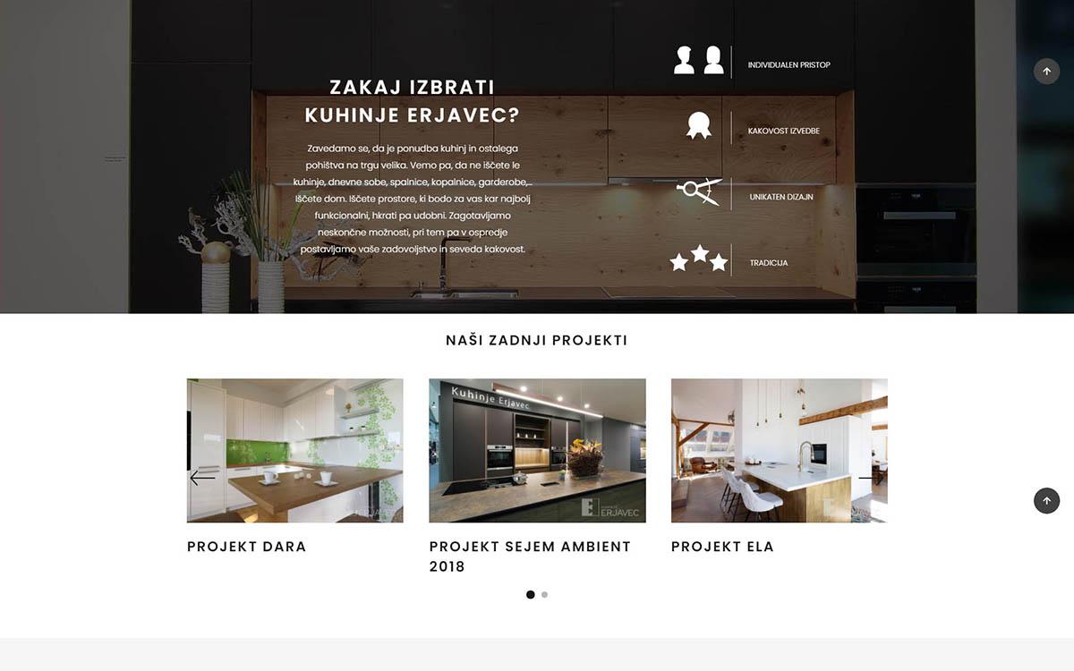Izdelava spletne strani Kuhinje Erjavec